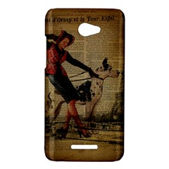 Paris Girl And Great Dane Vintage Newspaper Print Sexy Hot Gil Elvgren Pin Up Girl Paris Eiffel Towe HTC X920E(Butterfly) Case