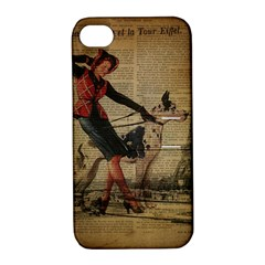 Paris Girl And Great Dane Vintage Newspaper Print Sexy Hot Gil Elvgren Pin Up Girl Paris Eiffel Towe Apple iPhone 4/4S Hardshell Case with Stand