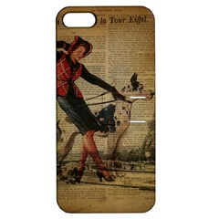Paris Girl And Great Dane Vintage Newspaper Print Sexy Hot Gil Elvgren Pin Up Girl Paris Eiffel Towe Apple Iphone 5 Hardshell Case With Stand