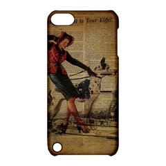 Paris Girl And Great Dane Vintage Newspaper Print Sexy Hot Gil Elvgren Pin Up Girl Paris Eiffel Towe Apple iPod Touch 5 Hardshell Case with Stand
