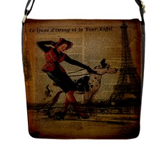 Paris Girl And Great Dane Vintage Newspaper Print Sexy Hot Gil Elvgren Pin Up Girl Paris Eiffel Towe Flap Closure Messenger Bag (Large)