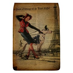 Paris Girl And Great Dane Vintage Newspaper Print Sexy Hot Gil Elvgren Pin Up Girl Paris Eiffel Towe Removable Flap Cover (Large)