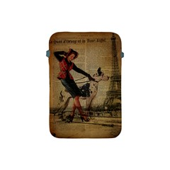 Paris Girl And Great Dane Vintage Newspaper Print Sexy Hot Gil Elvgren Pin Up Girl Paris Eiffel Towe Apple Ipad Mini Protective Soft Case