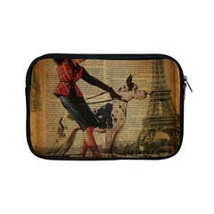 Paris Girl And Great Dane Vintage Newspaper Print Sexy Hot Gil Elvgren Pin Up Girl Paris Eiffel Towe Apple iPad Mini Zipper Case