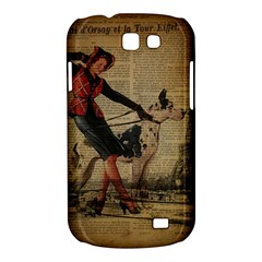 Paris Girl And Great Dane Vintage Newspaper Print Sexy Hot Gil Elvgren Pin Up Girl Paris Eiffel Towe Samsung Galaxy Express Hardshell Case