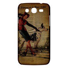 Paris Girl And Great Dane Vintage Newspaper Print Sexy Hot Gil Elvgren Pin Up Girl Paris Eiffel Towe Samsung Galaxy Mega 5.8 I9152 Hardshell Case
