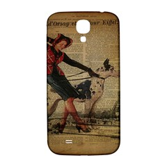 Paris Girl And Great Dane Vintage Newspaper Print Sexy Hot Gil Elvgren Pin Up Girl Paris Eiffel Towe Samsung Galaxy S4 I9500/I9505  Hardshell Back Case
