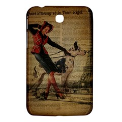 Paris Girl And Great Dane Vintage Newspaper Print Sexy Hot Gil Elvgren Pin Up Girl Paris Eiffel Towe Samsung Galaxy Tab 3 (7 ) P3200 Hardshell Case