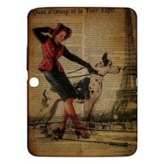 Paris Girl And Great Dane Vintage Newspaper Print Sexy Hot Gil Elvgren Pin Up Girl Paris Eiffel Towe Samsung Galaxy Tab 3 (10 1 ) P5200 Hardshell Case