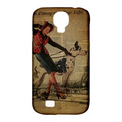 Paris Girl And Great Dane Vintage Newspaper Print Sexy Hot Gil Elvgren Pin Up Girl Paris Eiffel Towe Samsung Galaxy S4 Classic Hardshell Case (PC+Silicone)