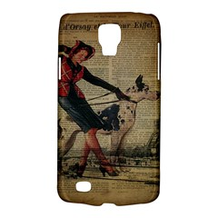 Paris Girl And Great Dane Vintage Newspaper Print Sexy Hot Gil Elvgren Pin Up Girl Paris Eiffel Towe Samsung Galaxy S4 Active (I9295) Hardshell Case