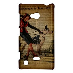 Paris Girl And Great Dane Vintage Newspaper Print Sexy Hot Gil Elvgren Pin Up Girl Paris Eiffel Towe Nokia Lumia 720 Hardshell Case