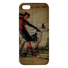 Paris Girl And Great Dane Vintage Newspaper Print Sexy Hot Gil Elvgren Pin Up Girl Paris Eiffel Towe iPhone 5S Premium Hardshell Case