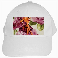 Cute Purple Dress Pin Up Girl Pink Rose Floral Art White Baseball Cap