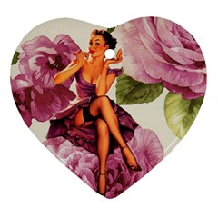 Cute Purple Dress Pin Up Girl Pink Rose Floral Art Heart Ornament