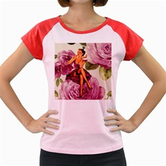 Cute Purple Dress Pin Up Girl Pink Rose Floral Art Women s Cap Sleeve T-Shirt (Colored)