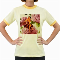 Cute Purple Dress Pin Up Girl Pink Rose Floral Art Womens  Ringer T-shirt (Colored)