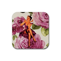 Cute Purple Dress Pin Up Girl Pink Rose Floral Art Drink Coasters 4 Pack (Square)