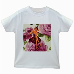 Cute Purple Dress Pin Up Girl Pink Rose Floral Art Kids' T Shirt (white)