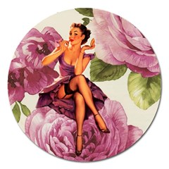 Cute Purple Dress Pin Up Girl Pink Rose Floral Art Magnet 5  (Round)