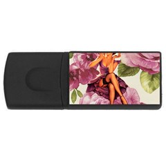 Cute Purple Dress Pin Up Girl Pink Rose Floral Art 1GB USB Flash Drive (Rectangle)
