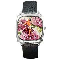 Cute Purple Dress Pin Up Girl Pink Rose Floral Art Square Leather Watch