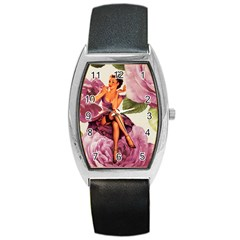 Cute Purple Dress Pin Up Girl Pink Rose Floral Art Tonneau Leather Watch