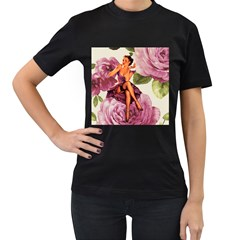 Cute Purple Dress Pin Up Girl Pink Rose Floral Art Womens' Two Sided T-shirt (Black)