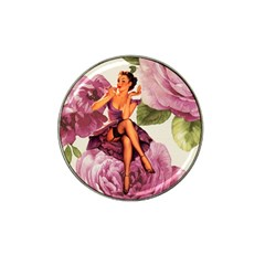 Cute Purple Dress Pin Up Girl Pink Rose Floral Art Golf Ball Marker 4 Pack (for Hat Clip)