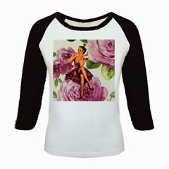 Cute Purple Dress Pin Up Girl Pink Rose Floral Art Women s Long Cap Sleeve T Shirt