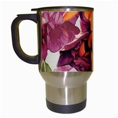 Cute Purple Dress Pin Up Girl Pink Rose Floral Art Travel Mug (White)