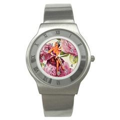 Cute Purple Dress Pin Up Girl Pink Rose Floral Art Stainless Steel Watch (Unisex)