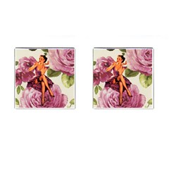 Cute Purple Dress Pin Up Girl Pink Rose Floral Art Cufflinks (Square)