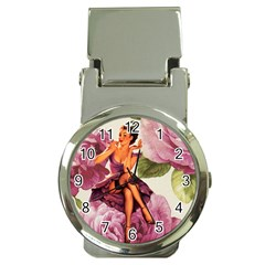 Cute Purple Dress Pin Up Girl Pink Rose Floral Art Money Clip with Watch