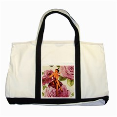 Cute Purple Dress Pin Up Girl Pink Rose Floral Art Two Toned Tote Bag