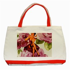 Cute Purple Dress Pin Up Girl Pink Rose Floral Art Classic Tote Bag (Red)