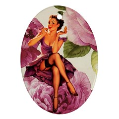 Cute Purple Dress Pin Up Girl Pink Rose Floral Art Oval Ornament (Two Sides)