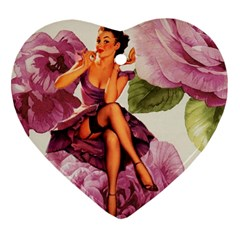 Cute Purple Dress Pin Up Girl Pink Rose Floral Art Heart Ornament (Two Sides)