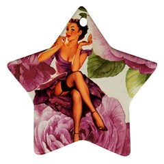 Cute Purple Dress Pin Up Girl Pink Rose Floral Art Star Ornament (Two Sides)