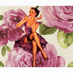 Cute Purple Dress Pin Up Girl Pink Rose Floral Art Canvas 20  X 24  (unframed)