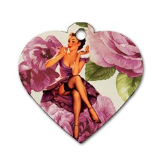 Cute Purple Dress Pin Up Girl Pink Rose Floral Art Dog Tag Heart (one Sided)