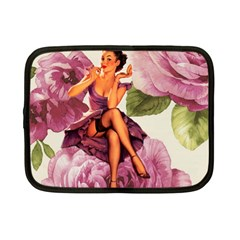 Cute Purple Dress Pin Up Girl Pink Rose Floral Art Netbook Case (small)