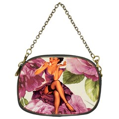 Cute Purple Dress Pin Up Girl Pink Rose Floral Art Chain Purse (one Side)