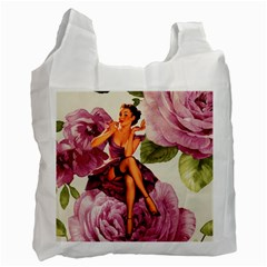 Cute Purple Dress Pin Up Girl Pink Rose Floral Art Recycle Bag (two Sides)