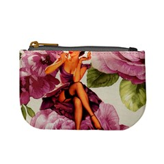 Cute Purple Dress Pin Up Girl Pink Rose Floral Art Coin Change Purse
