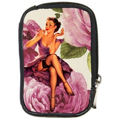Cute Purple Dress Pin Up Girl Pink Rose Floral Art Compact Camera Leather Case