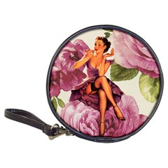 Cute Purple Dress Pin Up Girl Pink Rose Floral Art Cd Wallet