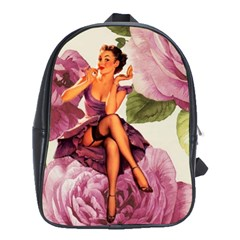 Cute Purple Dress Pin Up Girl Pink Rose Floral Art School Bag (Large)