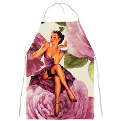 Cute Purple Dress Pin Up Girl Pink Rose Floral Art Apron