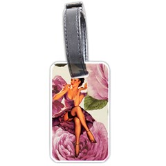 Cute Purple Dress Pin Up Girl Pink Rose Floral Art Luggage Tag (One Side)